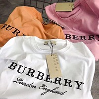 BURBERRY Women Fashion Embroidery Logo Short sleeve T-shirt