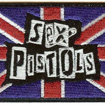 Sex Pistols Iron-On Patch British Flag Safety Pin Logo
