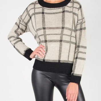 On The Grid Knitted Sweater - Large
