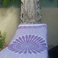 Purple and white cotton mandala beach throw rug