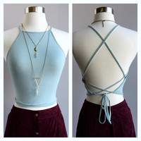 A Solid Halter Crop in Dusty Aqua