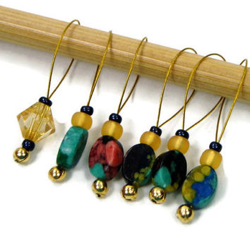 Beaded Stitch Markers, Rainbow Stone, Golden Yellow, Snag Free, DIY Knitting Supplies, Snagless, Gift for Knitter, Craft Supplies