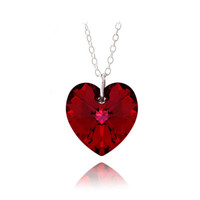 """925 Silver Ruby Red Swarovski Elements Heart Necklace, 18"""""""