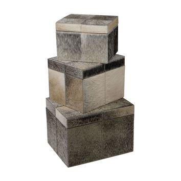 Nested Faux Pony Boxes - Set of 3 Brown