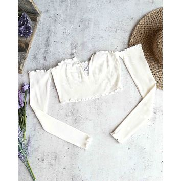 Reverse - Pretty Lady Ribbed Crop Top with Long Sleeves in White