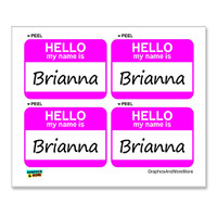Brianna Hello My Name Is - Sheet of 4 Stickers
