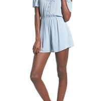 Lush Embroidered Cold Shoulder Romper | Nordstrom