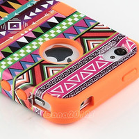 Stylus+Tribal Tribe Pattern TPU Hard Case Cover For iPhone 4 4S Screen Protector