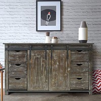 70 Inch Wooden Console with Barn Style Sliding Door Storage,Distressed Brown By The Urban Port
