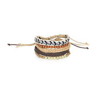 River Island MensEcru light beaded bracelet pack