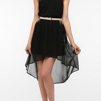 Urban Outfitters - Doe & Rae Chiffon High-Neck Pleat-Front Dress