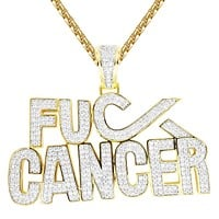 Fight Cancer Awareness Micro Pave Custom Pendant Necklace