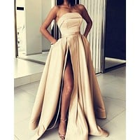 Simple Strapless Satin Long Prom Dress High Slit Classic Ball Gown Elegant Evening Dress
