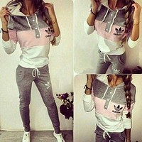 Adidas Fashion Multicolor Hoodie Sweater Pants Trousers Set Two-Piece