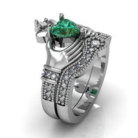 Claddagh Ring - Sterling Silver Emerald CZ  Love and  Friendship Engagement Ring Set