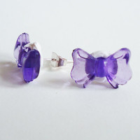 PURPLE RIBBONS / BOWTIES in cream - earrings