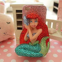 3D Bling Mermaid iPhone Case-Pink Rhinestone background Phone Cover-iPhone 5 Case Samsung galaxy note 2 case-iPhone 4 4s Case-galaxy S3 Case
