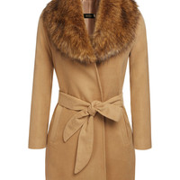 Camel Faux Collar Stitching Wool  Belted Coat