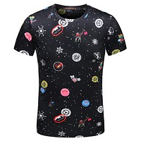 LV Louis Vuitton 2018 summer new tide brand round neck comfortable short-sleeved T-shirt F-A00FS-GJ black