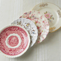 On Sale Vintage Set of 4 Mismatched Plates, English Shabby Chic, Tea Party, Transferware, Wedding, Cottage Chic, Antique, Replacement China