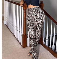 felainse19 new ladies elastic band sexy leopard print split trousers
