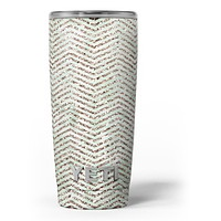 Brown and Green Glimmer Chevron - Skin Decal Vinyl Wrap Kit compatible with the Yeti Rambler Cooler Tumbler Cups