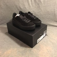 Puma Suede Creepers Fenty By Rihannna UK 3 Black Mono Satin Authentic Creeper