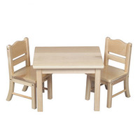 Guidecraft Doll Table & Chair Set Natural - G98114