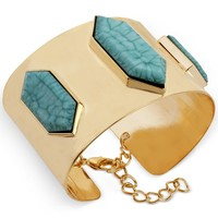 Steve Madden Gold-Tone Turquoise Faceted Bead Cuff Bracelet