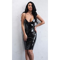 Don't Be Late PU Faux Leather Sleeveless Spaghetti Strap Plunge V Neck Bodycon Mini Dress - Sold Out