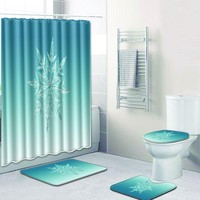 Snowflake Waterproof Bathroom 4pcs Bath Mat & Shower Curtain Set