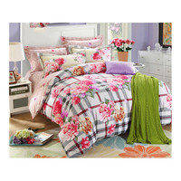 Bed Quilt Duvet Sheet Cover 4PC Set Upscale Cotton Sanded simple but elegant 1.8M 005