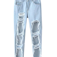 Light Blue Distressed Boyfriend Denim Pants