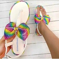Fashionable rainbow diamond bowknot large size slippers female jelly shoes sandals