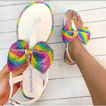 New fashion rainbow diamond multicolor bowknot slippers sandals White