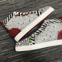 Christian Louboutin Cl Louis No Limit Flat Patent Stripes Sneakers Reference 141 - Best Deal Online