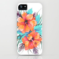 TROPICAL FLOWER {orange hibiscus} iPhone & iPod Case by Schatzi Brown
