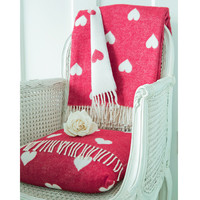Queen of Hearts Red & White Blanket & Cushion