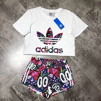 """Adidas"" Print Short sleeve Top Shorts Pants Sweatpants Set Two-Piece Sportswear"