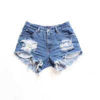 All Sizes Destroyed Ripped Distress  Daisy Dukes Custom Made High Waist Shorts