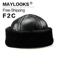 Maylooks 2017 New Arrival Genuine Leather Men's Army Cap Hat for Man Military Hats/Caps Winter Warm Faux Fur Bomber CS28