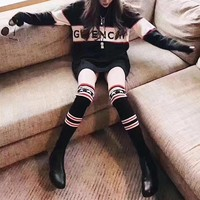 """Givenchy"" Women Fashion Letter Multicolor Stripe Knit Long Sleeve Loose Sweater Knitwear Tops"