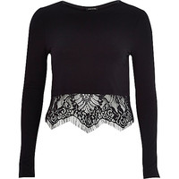 River Island Womens Black long sleeve lace hem t-shirt