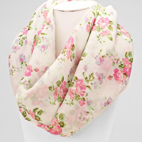 White Floral Spring Infinity Scarf