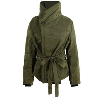 Women Padded Jacket Short Down Parka Long Sleeve Abrigos Mujer Warm Slim Coat Outerwear Army Green Manteau  SM6