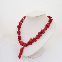 Red Coral Necklace with Pendant, Chunky Red Coral Necklace, African Coral