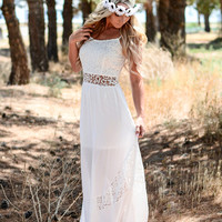 LILIES AND LACE MAXI DRESS IN WHITE