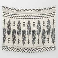 Tribal Feathers-Black & Cream Wall Tapestry by Bohemian Gypsy Jane