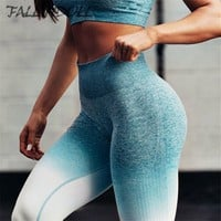 Women High Waist Yoga Pants Ombre Seamless Leggings For Gym Scrunch Butt Push Up Fitness Leggings Tummy Control training tights