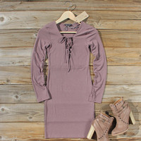 Sweet Lace-up Dress in Mauve